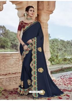Navy Blue Designer Party Wear Silk Sari