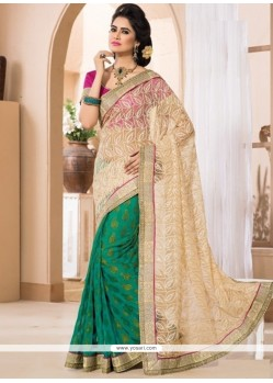 Celestial Green And Beige Georgette Designer Saree