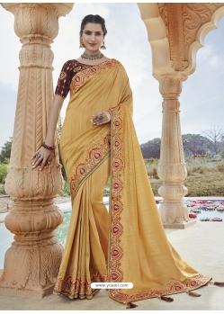 Cream Designer Party Wear Silk Sari