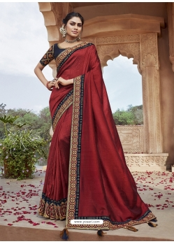 Maroon Designer Party Wear Silk Sari