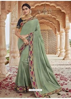 Olive Green Designer Party Wear Silk Sari