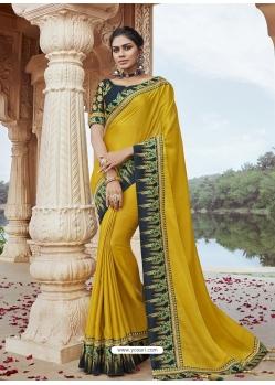 Corn Designer Party Wear Silk Sari