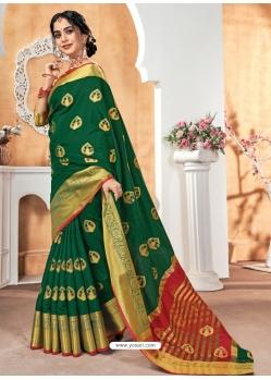Dark Green Designer Party Wear Silk Sari