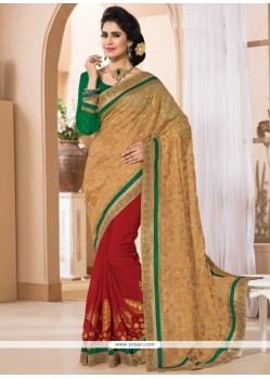 Thrilling Zari Work Shimmer Georgette Contemporary Style Saree