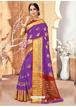 Violet Designer Party Wear Silk Sari