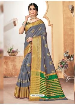 Grey Designer Party Wear Silk Sari