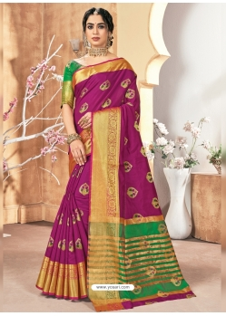 Medium Violet Designer Party Wear Silk Sari