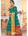 Teal Designer Party Wear Silk Sari