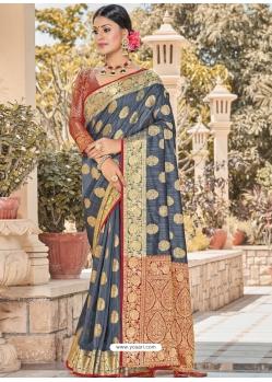 Pigeon Designer Party Wear Silk Sari
