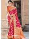 Fuchsia Designer Party Wear Silk Sari