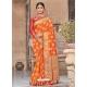 Orange Designer Party Wear Silk Sari