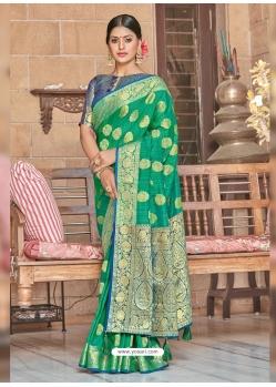 Jade Green Designer Party Wear Silk Sari