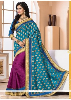 Excellent Blue And Magenta Bhagalpuri Silk Designer Saree