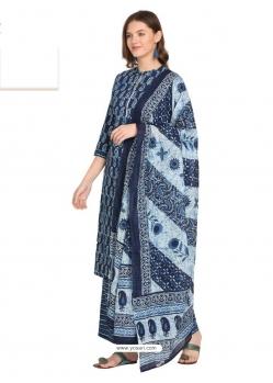 Navy Blue Readymade Designer Party Wear Kurti Palazzo With Dupatta