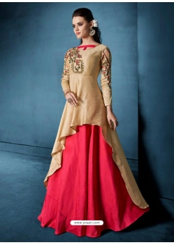 Light Beige Readymade Designer Party Wear Dress