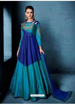 Blue Readymade Designer Party Wear Dress