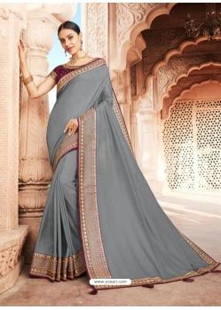 Grey Designer Party Wear Dola Silk Sari