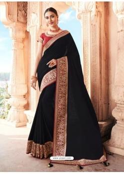 Black Designer Party Wear Dola Silk Sari