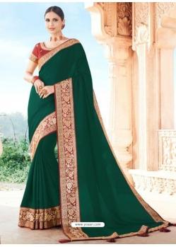 Dark Green Designer Party Wear Dola Silk Sari