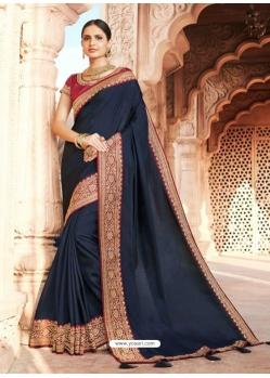 Navy Blue Designer Party Wear Dola Silk Sari