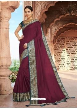 Deep Wine Designer Party Wear Dola Silk Sari