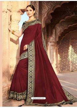 Maroon Designer Party Wear Dola Silk Sari
