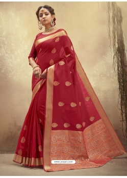 Tomato Red Designer Party Wear Cotton Sari
