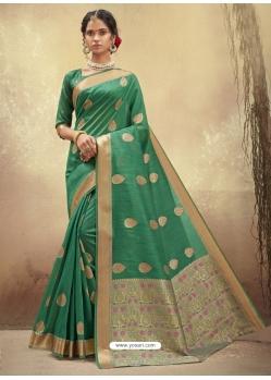 Aqua Mint Designer Party Wear Cotton Sari