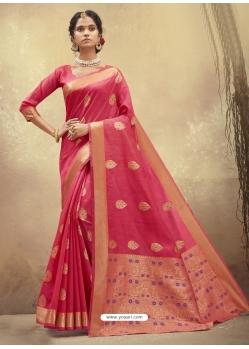 Light Red Designer Party Wear Cotton Sari