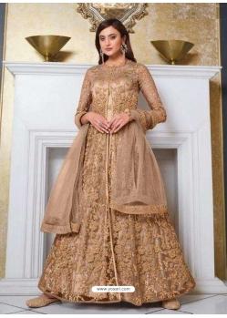 Beige Designer Soft Net Party Wear Indo Western Suit