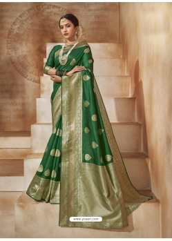 Dark Green Designer Classic Wear Art Silk Sari