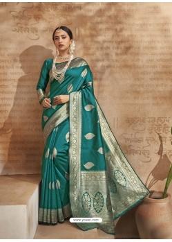 Turquoise Designer Classic Wear Art Silk Sari