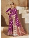 Purple Designer Classic Wear Art Silk Sari