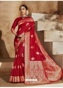 Tomato Red Designer Classic Wear Art Silk Sari