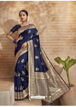 Navy Blue Designer Classic Wear Art Silk Sari