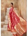Light Red Designer Classic Wear Art Silk Sari