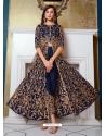 Navy Blue Designer Soft Net Party Wear Indo Western Suit