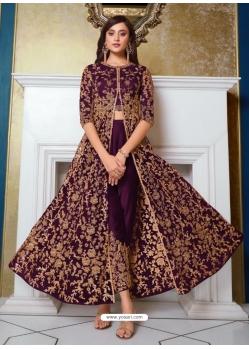 Purple Designer Soft Net Party Wear Indo Western Suit