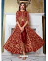 Tomato Red Designer Soft Net Party Wear Indo Western Suit