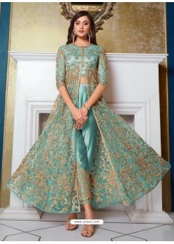 Sky Blue Designer Soft Net Party Wear Indo Western Suit
