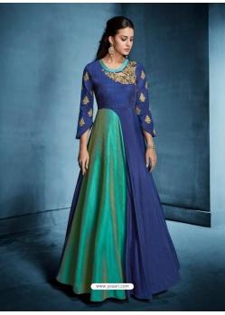 Dark Blue Readymade Designer Party Wear Dress
