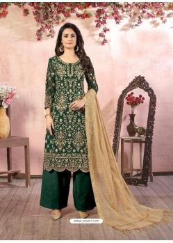Dark Green Designer Party Wear Faux Georgette Palazzo Suit