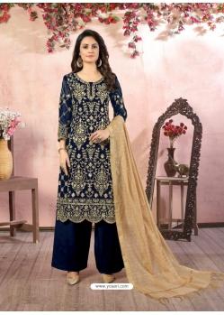 Navy Blue Designer Party Wear Faux Georgette Palazzo Suit