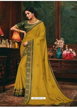 Mustard Designer Party Wear Fancy Silk Sari