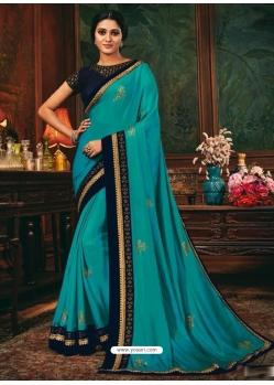 Blue Designer Party Wear Fancy Silk Sari