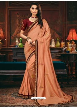 Light Orange Designer Party Wear Fancy Silk Sari