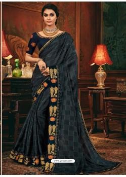 Navy Blue Designer Party Wear Fancy Silk Sari