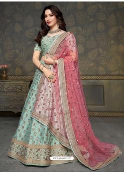 Sky Blue Scintillating Designer Heavy Wedding Lehenga Choli