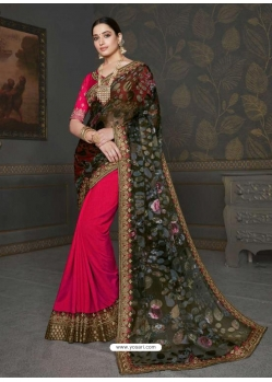 Dark Peach Designer Classic Wear Art Silk Sari