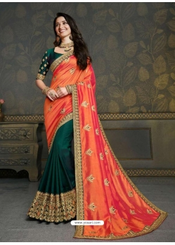 Orange Designer Classic Wear Art Silk Sari